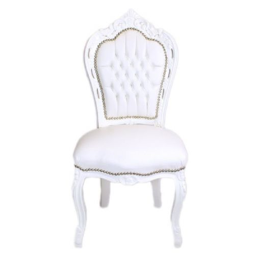 CHAIRS FRANCE BAROQUE STYLE DINING ROYAL CHAIR WHITE / WHITE #60ST5